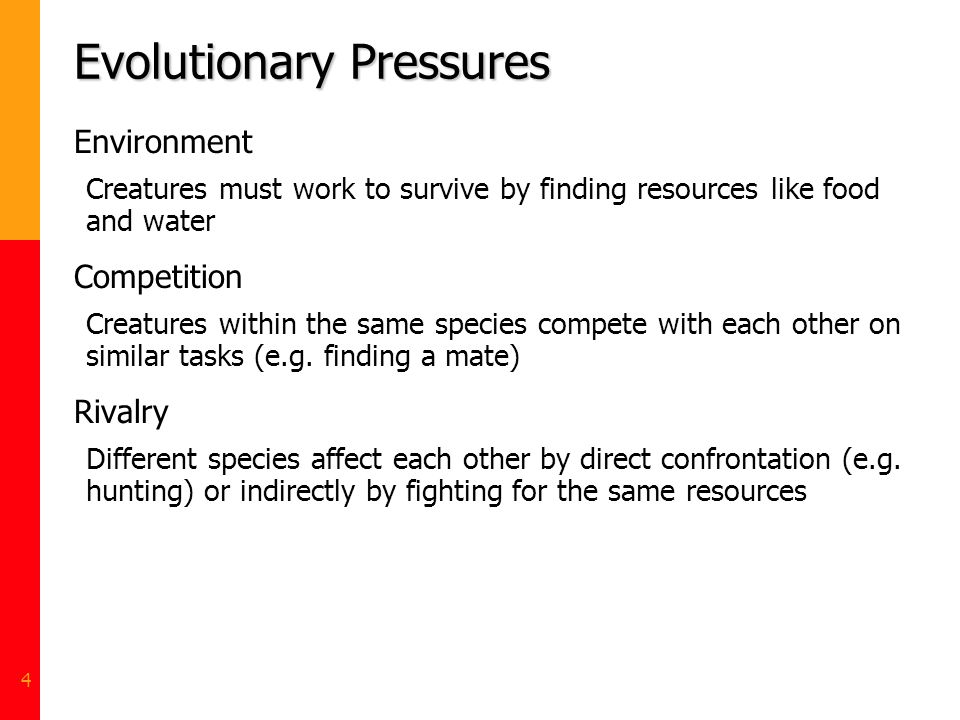 4 Evolutionary Pressures Environment Creatures must work to survive by finding resources like food and water Competition Creatures within the same spe