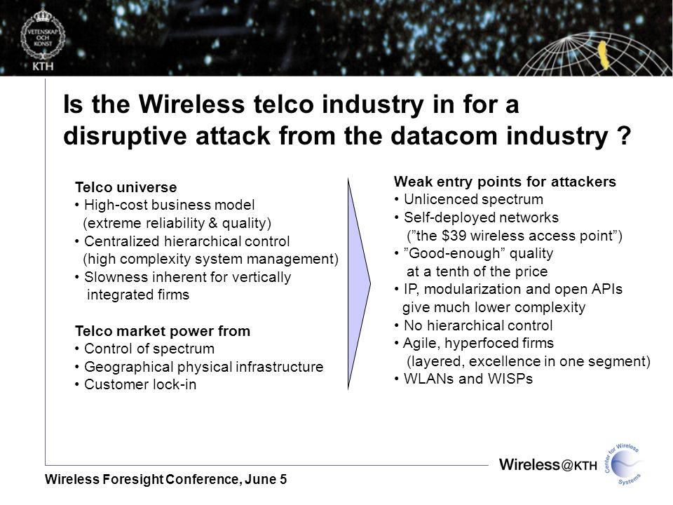 Wireless Foresight Conference, June 5 Weak entry points for attackers Unlicenced spectrum Self-deployed networks (the $39 wireless access point) Good-enough quality at a tenth of the price IP, modularization and open APIs give much lower complexity No hierarchical control Agile, hyperfoced firms (layered, excellence in one segment) WLANs and WISPs Telco universe High-cost business model (extreme reliability & quality) Centralized hierarchical control (high complexity system management) Slowness inherent for vertically integrated firms Telco market power from Control of spectrum Geographical physical infrastructure Customer lock-in Is the Wireless telco industry in for a disruptive attack from the datacom industry