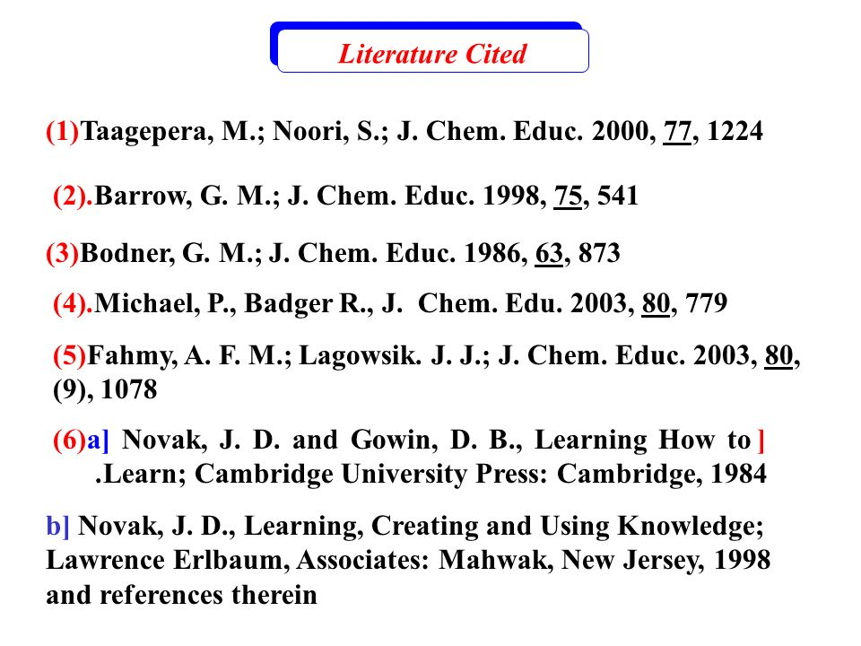Literature Cited (1)Taagepera, M.; Noori, S.; J. Chem. Educ. 2000, 77, 1224 Barrow, G. M.; J. Chem. Educ. 1998, 75, 541.(2) (3)Bodner, G. M.; J. Chem.