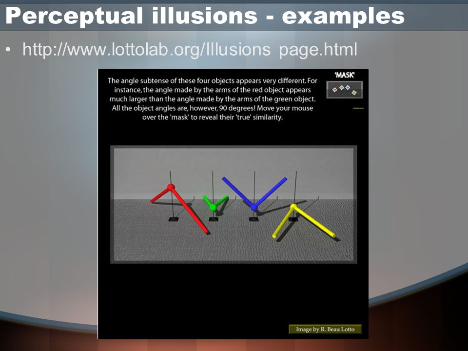 Perceptual illusions - examples http://www.lottolab.org/Illusions page.html