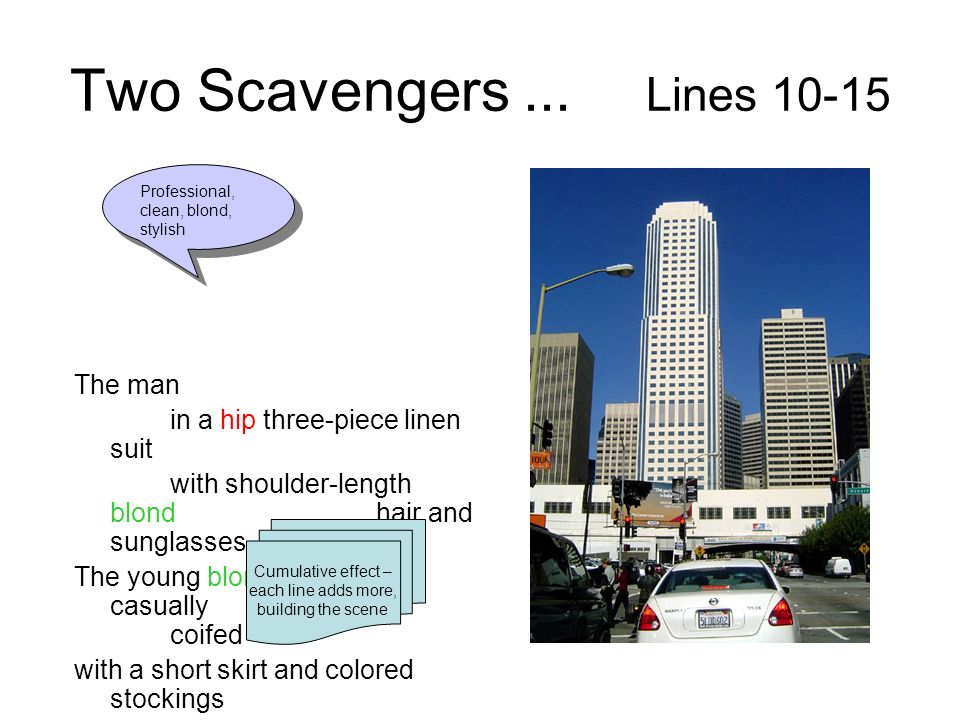Two Scavengers... Lines 10-15 The man in a hip three-piece linen suit with shoulder-length blond hair and sunglasses The young blond woman so casually