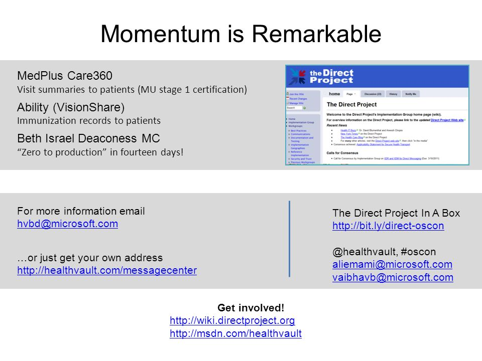 Momentum is Remarkable MedPlus Care360 Visit summaries to patients (MU stage 1 certification) Ability (VisionShare) Immunization records to patients B