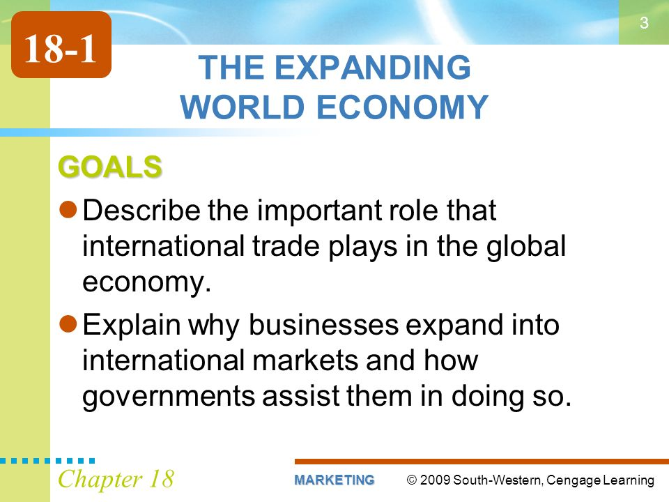© 2009 South-Western, Cengage LearningMARKETING Chapter 18 3 THE EXPANDING WORLD ECONOMY GOALS Describe the important role that international trade plays in the global economy.