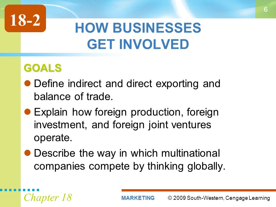 © 2009 South-Western, Cengage LearningMARKETING Chapter 18 6 HOW BUSINESSES GET INVOLVED GOALS Define indirect and direct exporting and balance of trade.