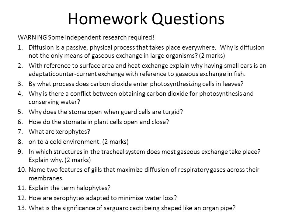 Homework Questions WARNING Some independent research required! 1.Diffusion is a passive, physical process that takes place everywhere. Why is diffusio