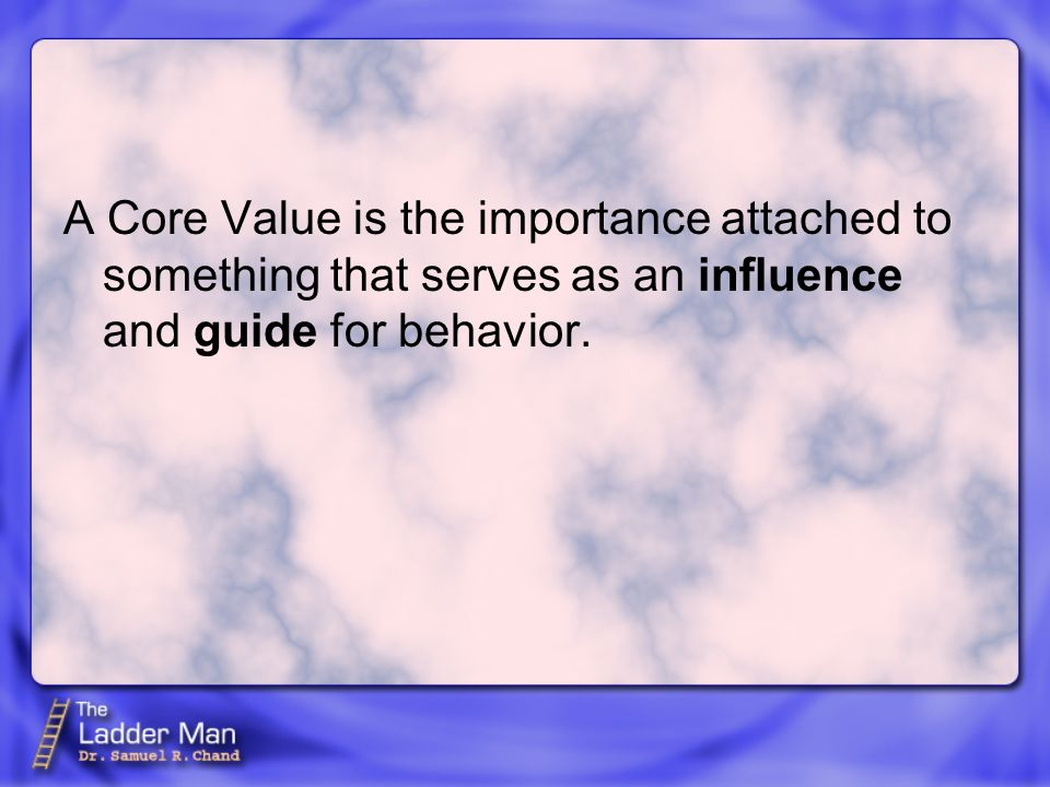 The values of our organization - The importance our organization attaches to something that serves as an influence and a guide in our team members BEHAVIOR.
