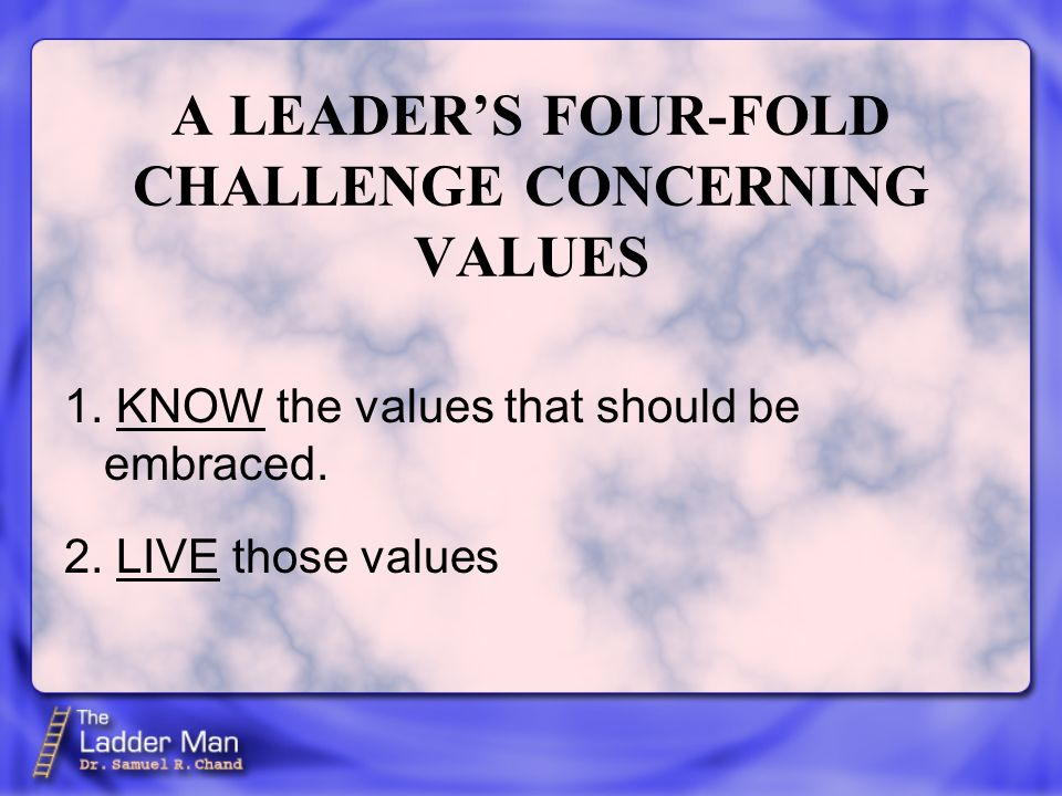 1. KNOW the values that should be embraced. A LEADERS FOUR-FOLD CHALLENGE CONCERNING VALUES 2. LIVE those values