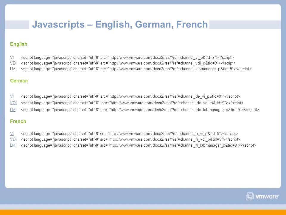 Javascripts – English, German, French English VI VDI LM German VI VDI LM French VI VDI LM