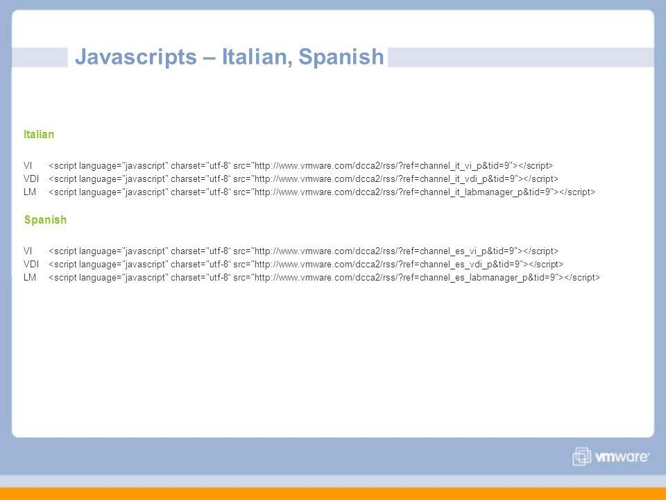 Javascripts – Italian, Spanish Italian VI VDI LM Spanish VI VDI LM