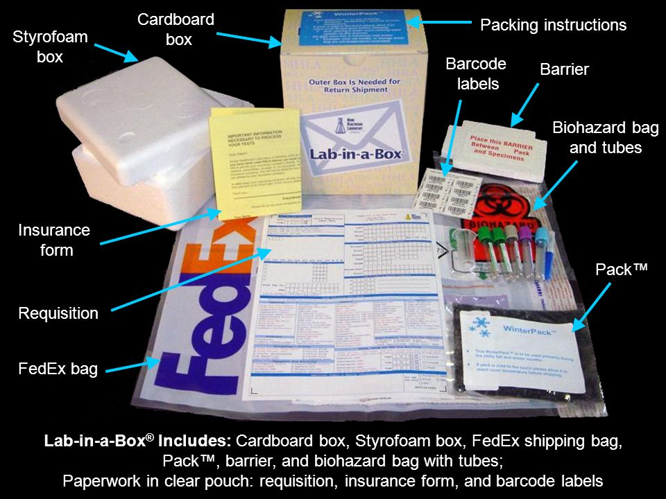 Lab-in-a-Box ® Includes: Cardboard box, Styrofoam box, FedEx shipping bag, Pack, barrier, and biohazard bag with tubes; Paperwork in clear pouch: requisition, insurance form, and barcode labels FedEx bag Styrofoam box Cardboard box Insurance form Barcode labels Barrier Biohazard bag and tubes Requisition Pack Packing instructions
