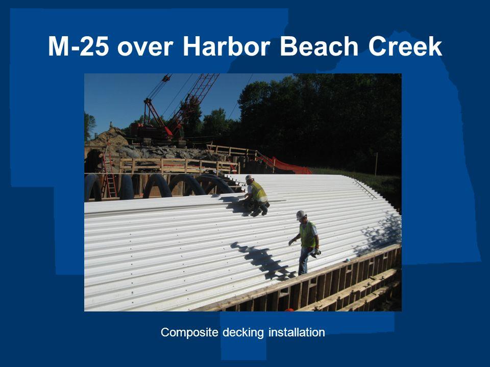 M-25 over Harbor Beach Creek Composite decking installation