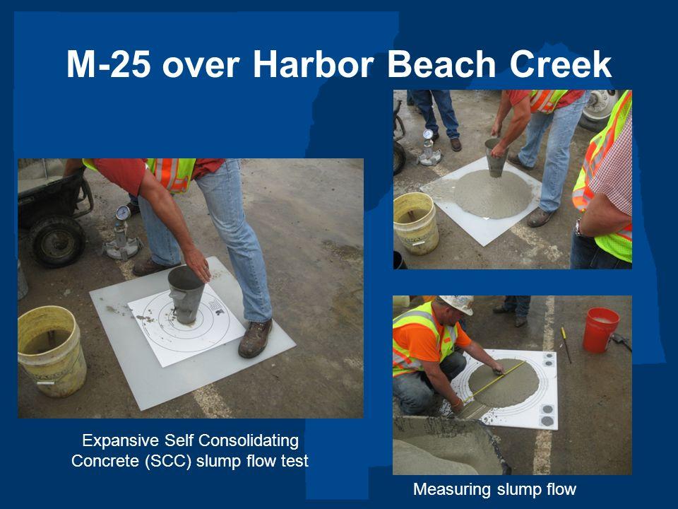 M-25 over Harbor Beach Creek Expansive Self Consolidating Concrete (SCC) slump flow test Measuring slump flow