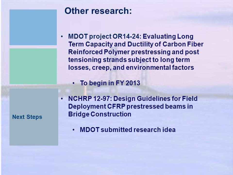 Next Steps Other research: MDOT project OR14-24: Evaluating Long Term Capacity and Ductility of Carbon Fiber Reinforced Polymer prestressing and post