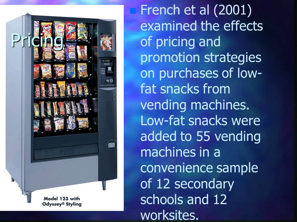 Pricing n n French et al (2001) examined the effects of pricing and promotion strategies on purchases of low- fat snacks from vending machines. Low-fa