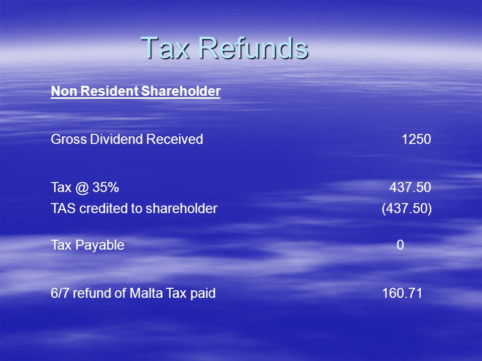 Tax Refunds Non Resident Shareholder Gross Dividend Received1250 Tax @ 35%437.50 TAS credited to shareholder(437.50) Tax Payable 0 6/7 refund of Malta