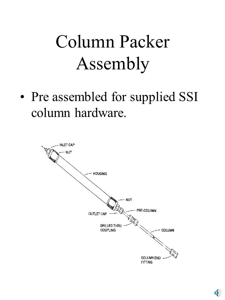 Pre assembled for supplied SSI column hardware. Column Packer Assembly
