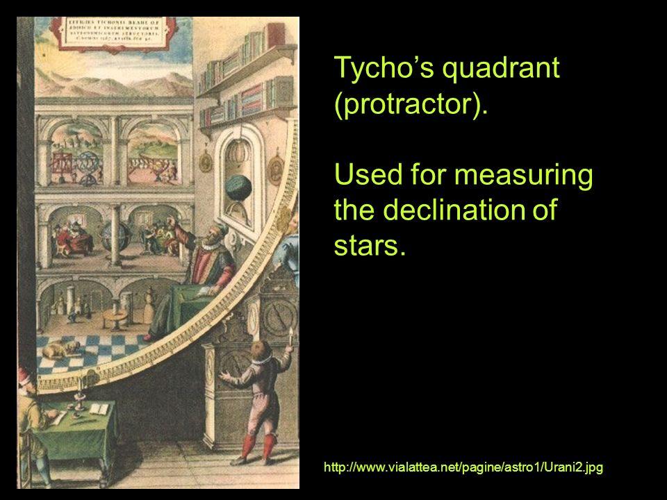Tychos quadrant (protractor). Used for measuring the declination of stars. http://www.vialattea.net/pagine/astro1/Urani2.jpg