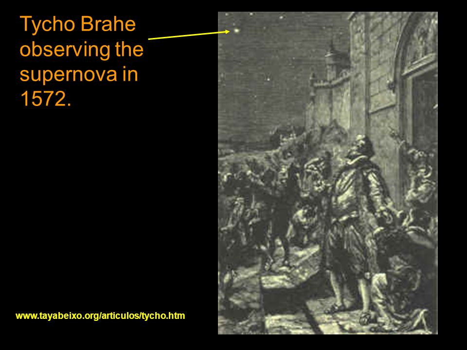 Tycho Brahe observing the supernova in 1572. www.tayabeixo.org/articulos/tycho.htm