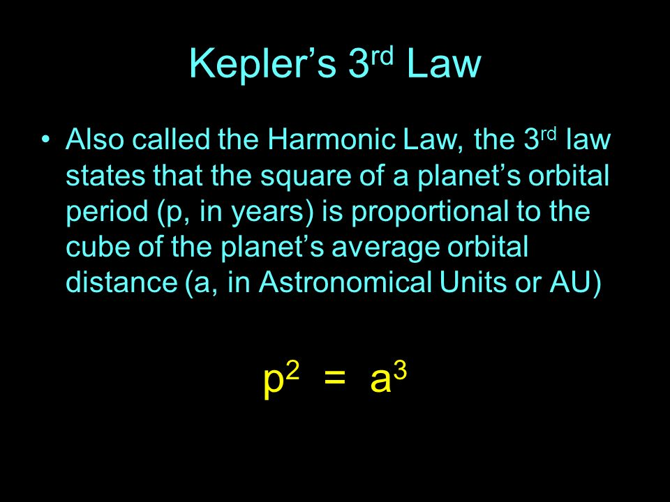 Keplers 3 rd Law Also called the Harmonic Law, the 3 rd law states that the square of a planets orbital period (p, in years) is proportional to the cu