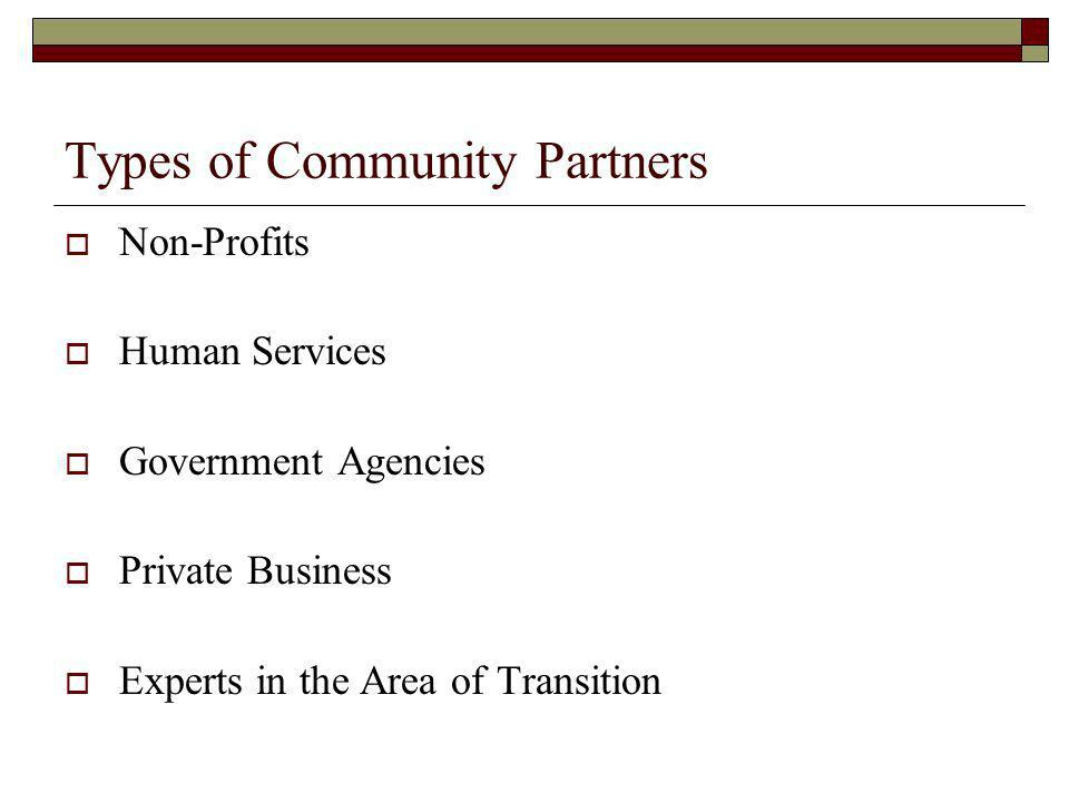 Types of Community Partners Non-Profits Human Services Government Agencies Private Business Experts in the Area of Transition