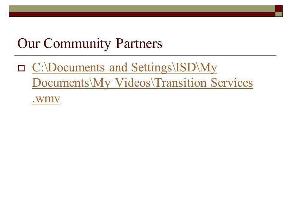 Our Community Partners C:\Documents and Settings\ISD\My Documents\My Videos\Transition Services.wmv C:\Documents and Settings\ISD\My Documents\My Videos\Transition Services.wmv