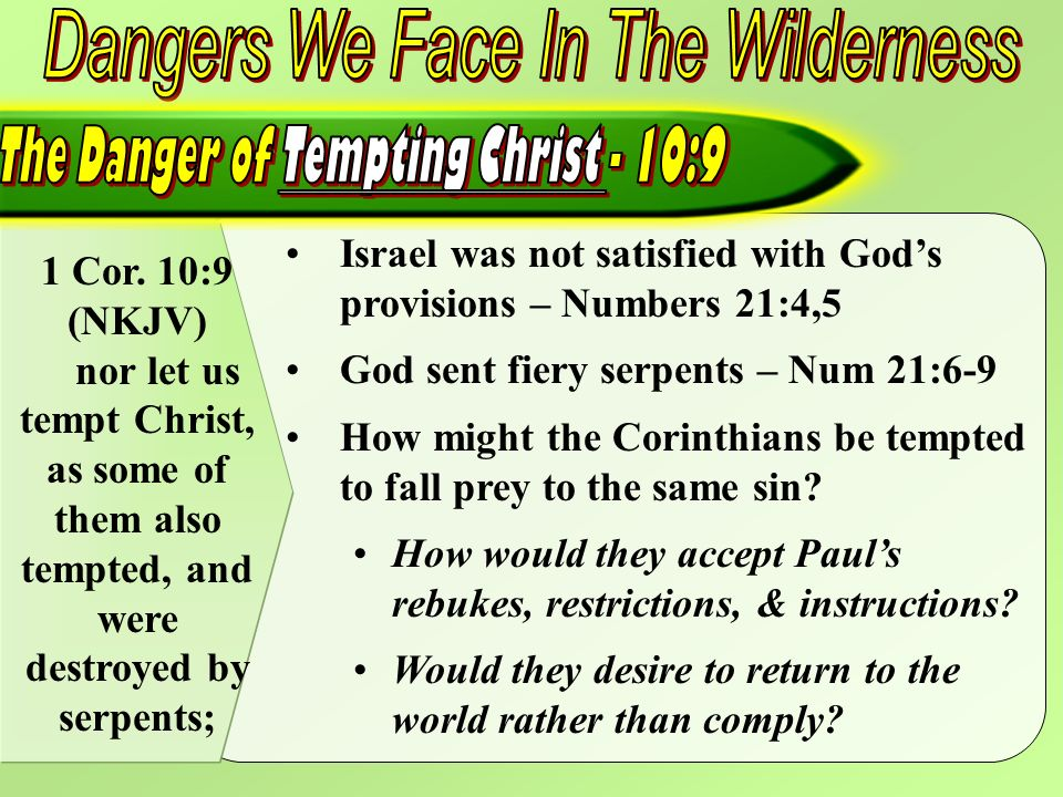 1 Cor. 10:9 (NKJV) nor let us tempt Christ, as some of them also tempted, and were destroyed by serpents; Israel was not satisfied with Gods provision
