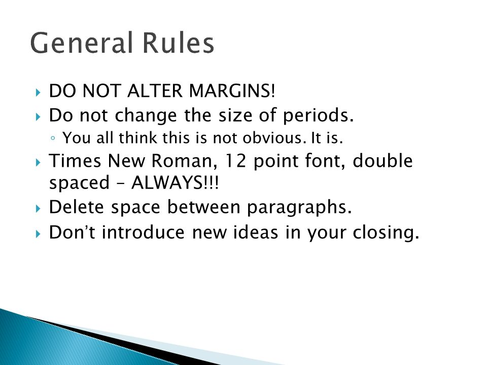 DO NOT ALTER MARGINS. Do not change the size of periods.