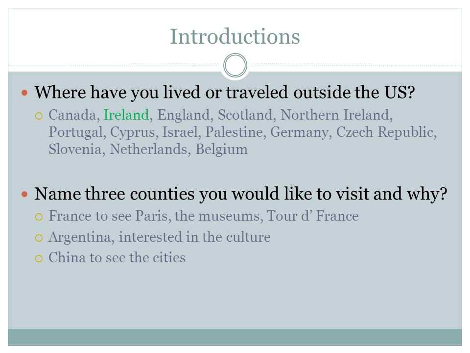 Introductions Where have you lived or traveled outside the US.