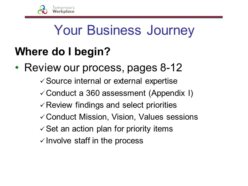 Your Business Journey Where do I begin? Review our process, pages 8-12 Source internal or external expertise Conduct a 360 assessment (Appendix I) Rev