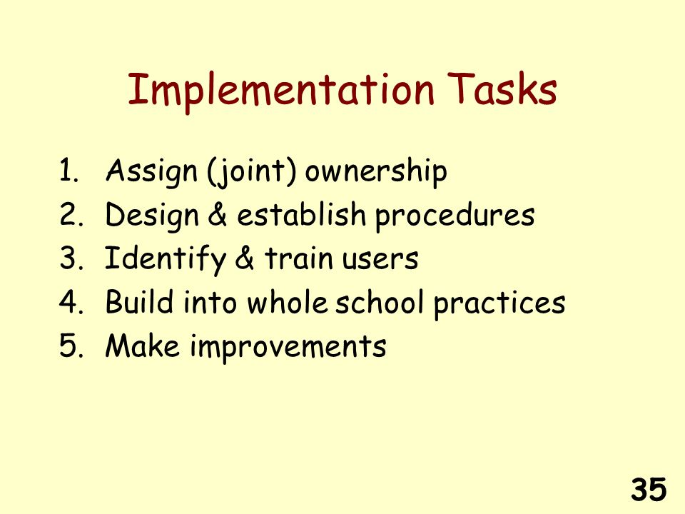35 Implementation Tasks 1.Assign (joint) ownership 2.Design & establish procedures 3.Identify & train users 4.Build into whole school practices 5.Make improvements