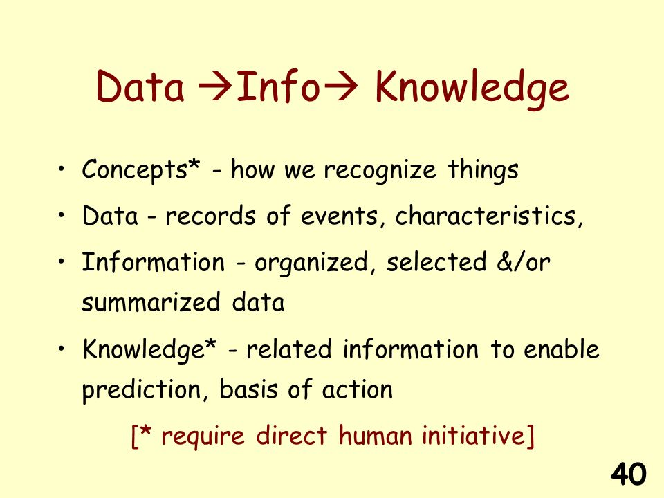 40 Data Info Knowledge Concepts* - how we recognize things Data - records of events, characteristics, Information - organized, selected &/or summarized data Knowledge* - related information to enable prediction, basis of action [* require direct human initiative]
