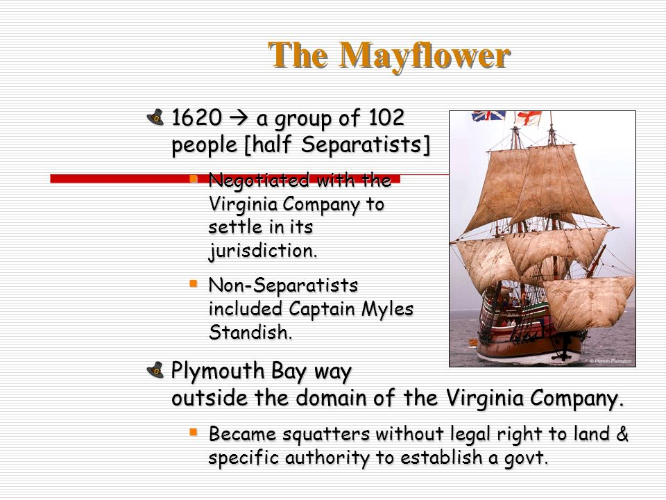 1620 a group of 102 people [half Separatists] Negotiated with the Virginia Company to settle in its jurisdiction.