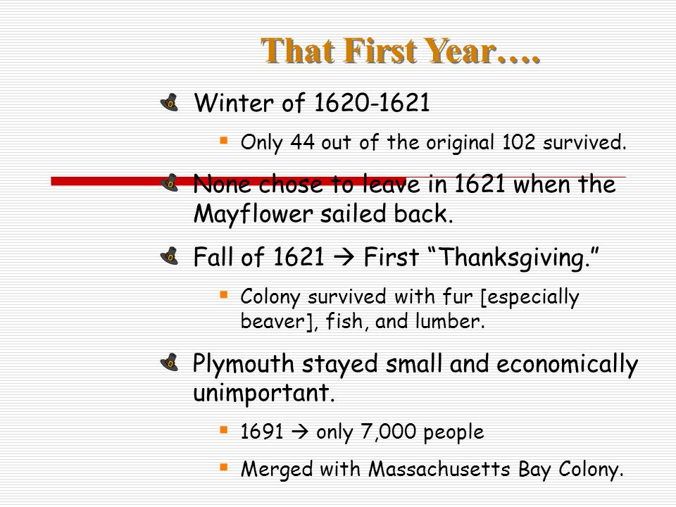 That First Year…. Winter of 1620-1621 Only 44 out of the original 102 survived.