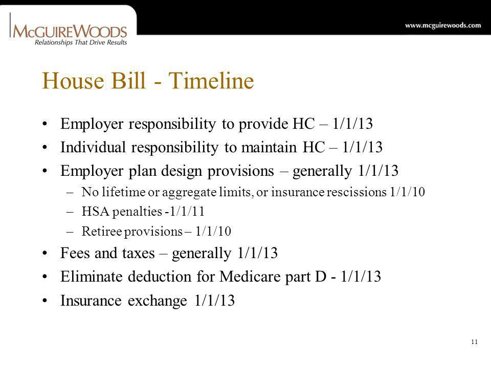 11 House Bill - Timeline Employer responsibility to provide HC – 1/1/13 Individual responsibility to maintain HC – 1/1/13 Employer plan design provisions – generally 1/1/13 –No lifetime or aggregate limits, or insurance rescissions 1/1/10 –HSA penalties -1/1/11 –Retiree provisions – 1/1/10 Fees and taxes – generally 1/1/13 Eliminate deduction for Medicare part D - 1/1/13 Insurance exchange 1/1/13
