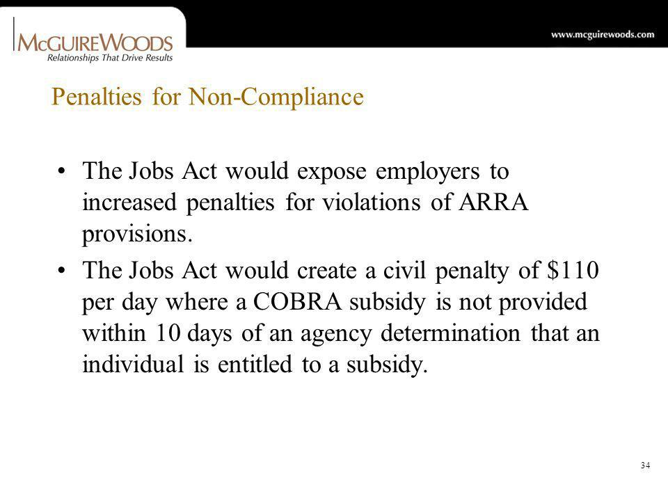 34 Penalties for Non-Compliance The Jobs Act would expose employers to increased penalties for violations of ARRA provisions.