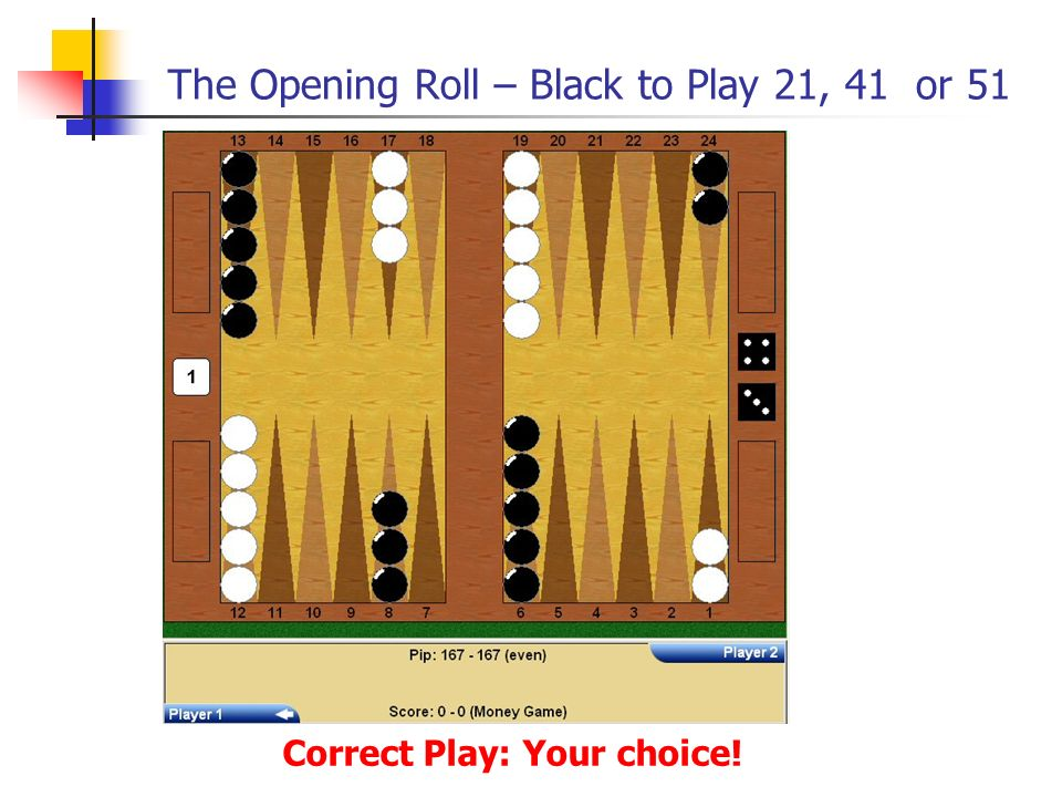 The Opening Roll – Black to Play 21, 41 or 51 Correct Play: Your choice!