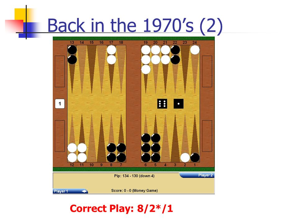 Back in the 1970s (2) Correct Play: 8/2*/1