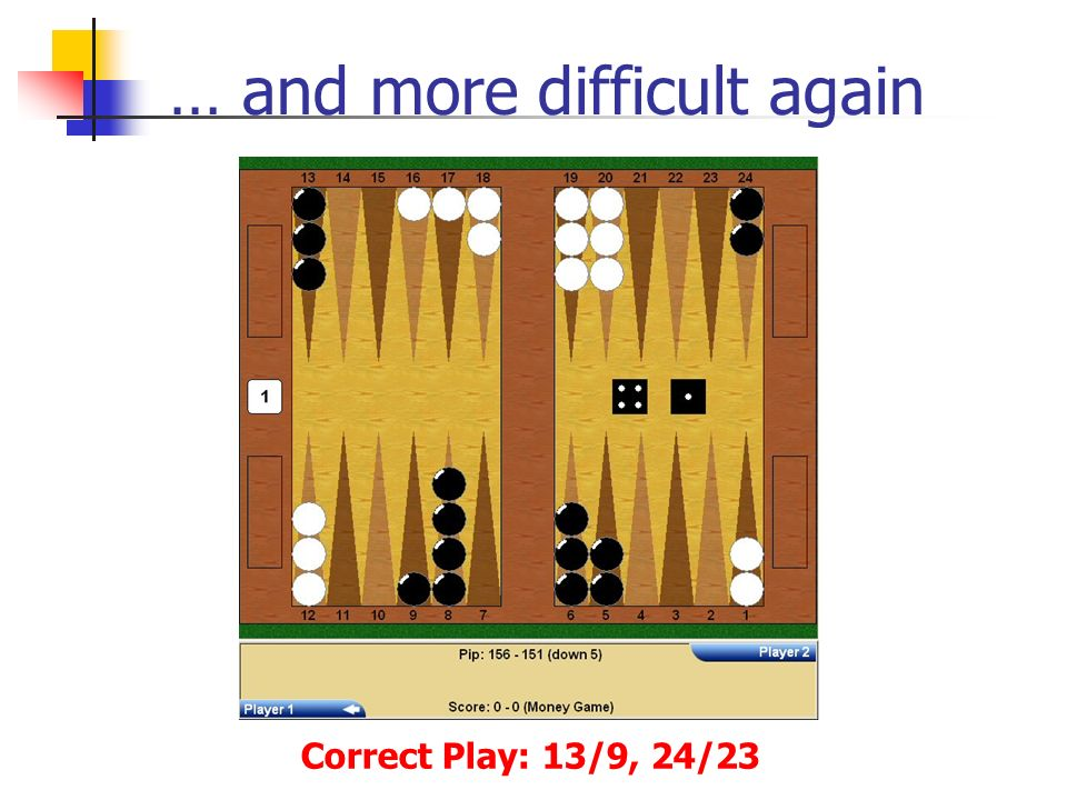 … and more difficult again Correct Play: 13/9, 24/23