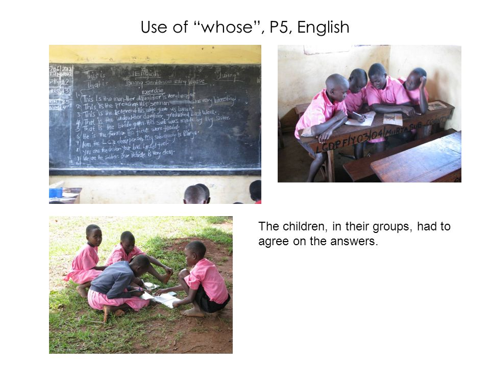 Use of whose, P5, English The children, in their groups, had to agree on the answers.