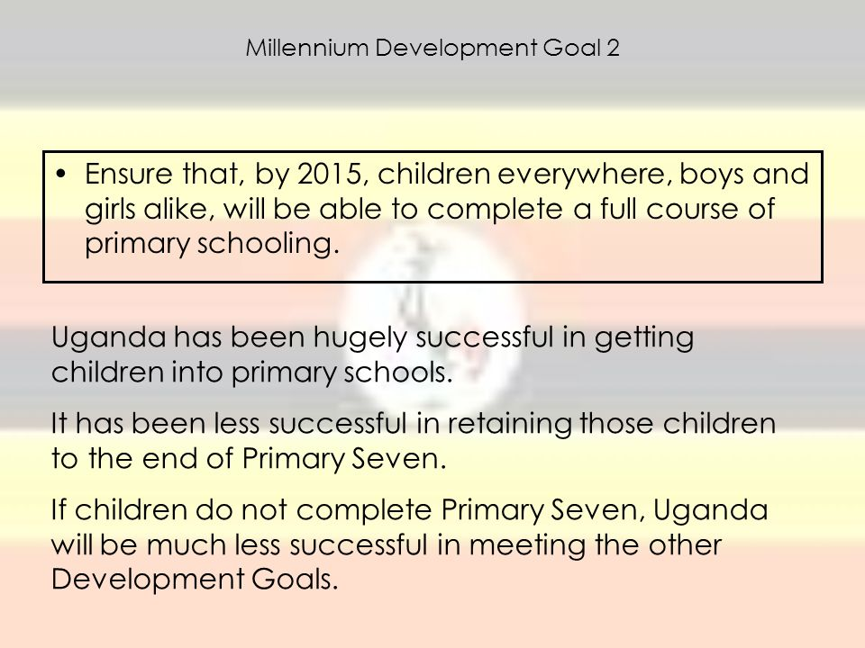 Millennium Development Goal 2 Ensure that, by 2015, children everywhere, boys and girls alike, will be able to complete a full course of primary schoo
