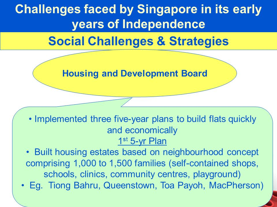 Challenges faced by Singapore in its early years of Independence Social Challenges & Strategies Housing and Development Board Implemented three five-y