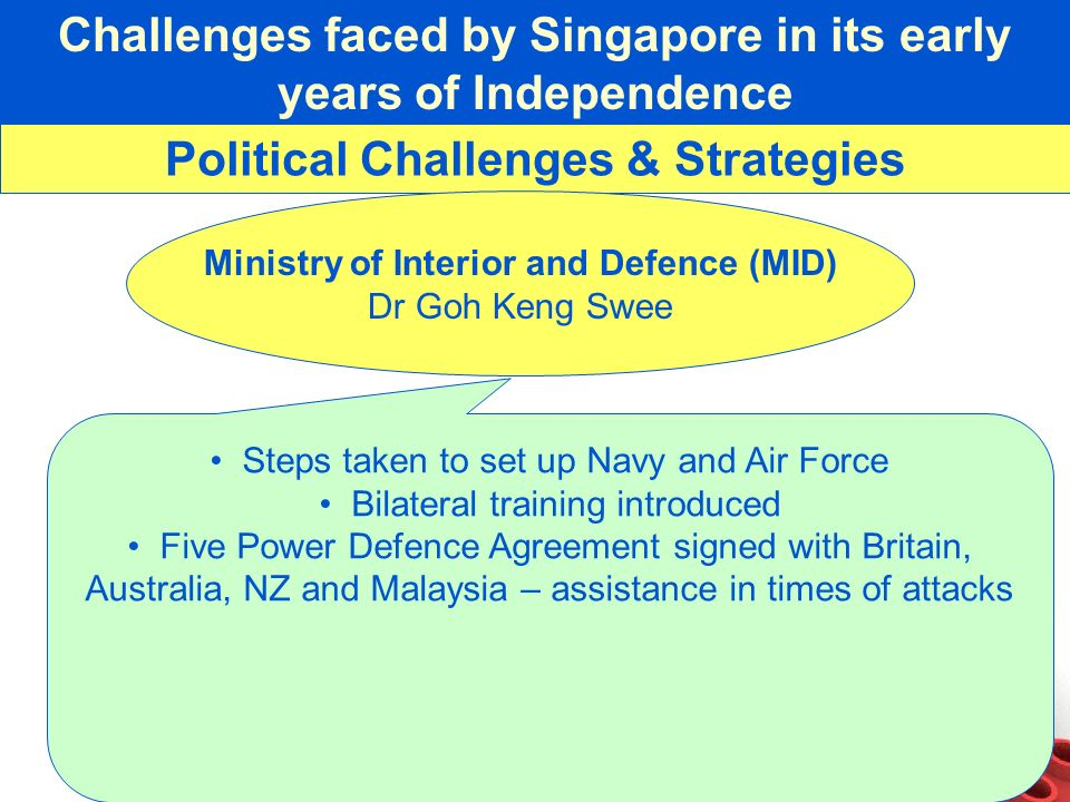 Challenges faced by Singapore in its early years of Independence Political Challenges & Strategies Ministry of Interior and Defence (MID) Dr Goh Keng