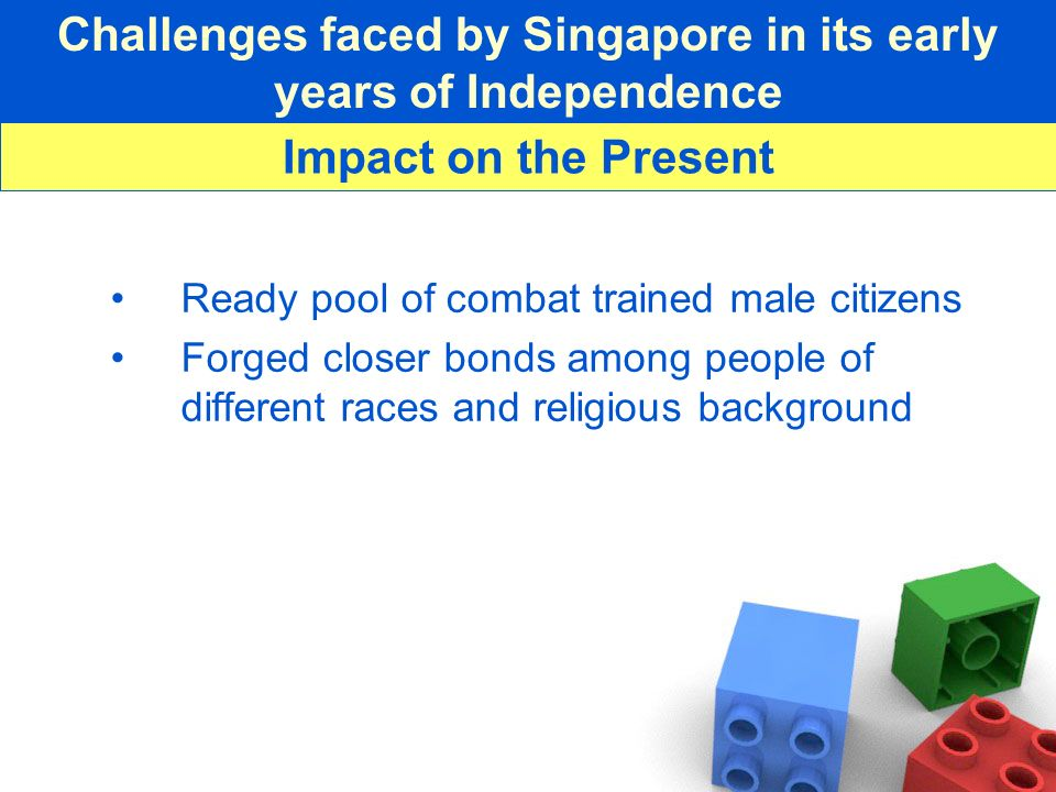 Challenges faced by Singapore in its early years of Independence Ready pool of combat trained male citizens Forged closer bonds among people of differ