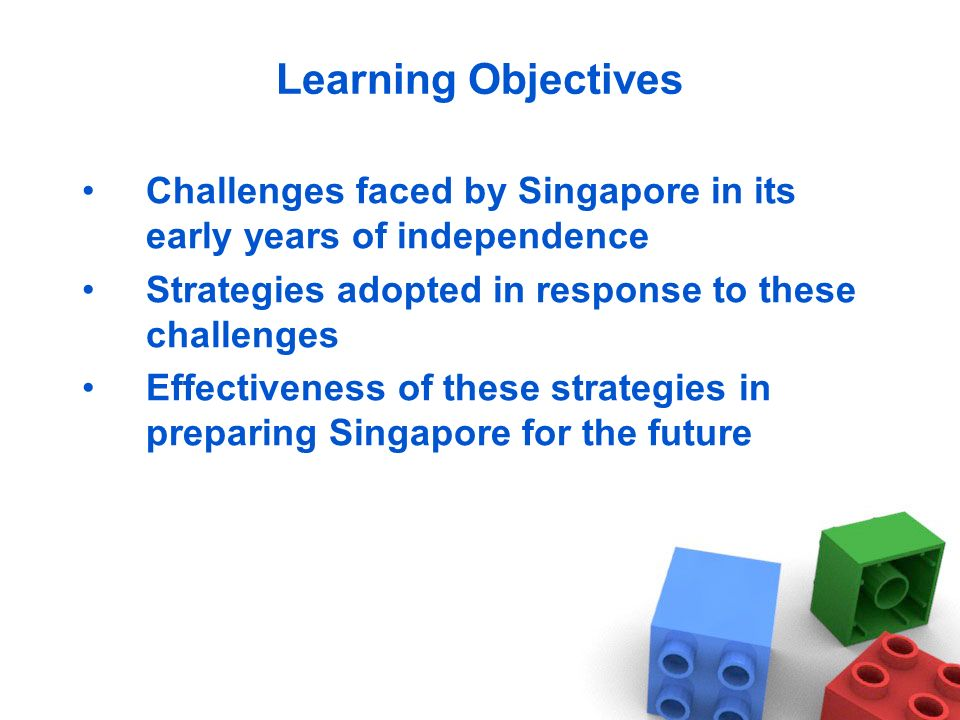 Learning Objectives Challenges faced by Singapore in its early years of independence Strategies adopted in response to these challenges Effectiveness