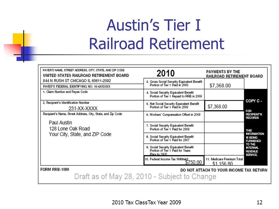 2010 Tax ClassTax Year 200912 Austins Tier I Railroad Retirement