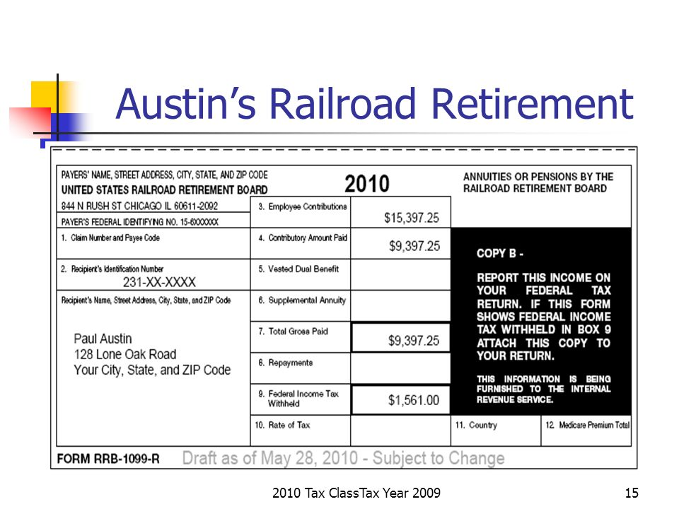 2010 Tax ClassTax Year 200915 Austins Railroad Retirement