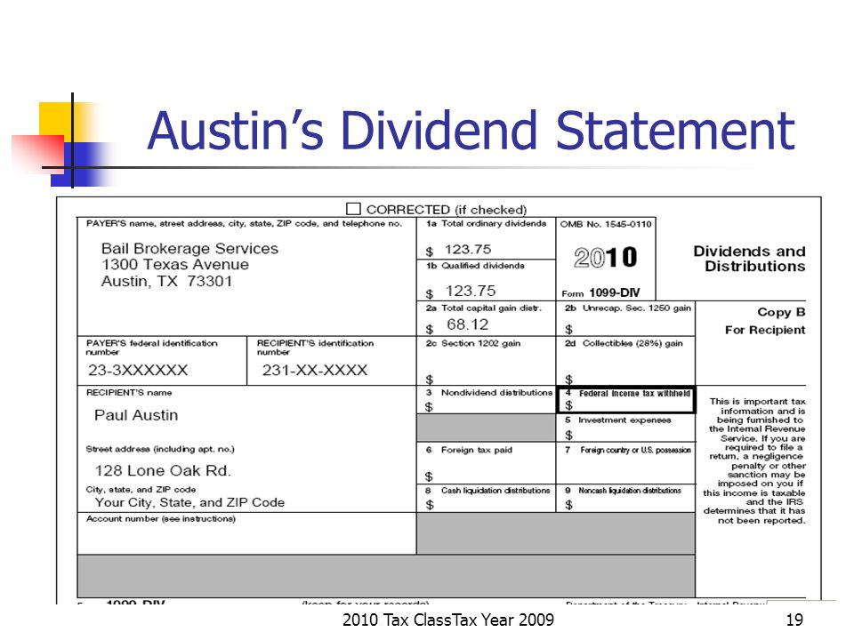 2010 Tax ClassTax Year 200919 Austins Dividend Statement