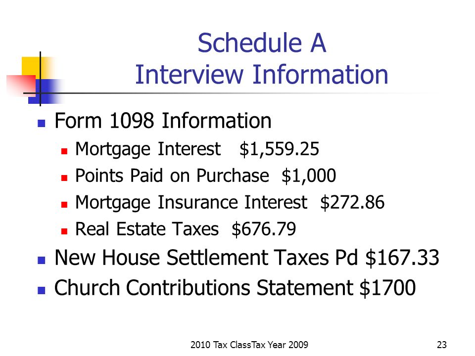2010 Tax ClassTax Year 200923 Schedule A Interview Information Form 1098 Information Mortgage Interest $1,559.25 Points Paid on Purchase $1,000 Mortga