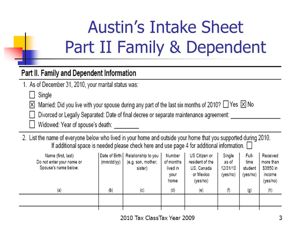 2010 Tax ClassTax Year 20093 Austins Intake Sheet Part II Family & Dependent
