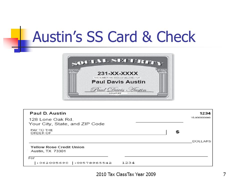 2010 Tax ClassTax Year 20098 Are You ready to start filling in Austins 1040 Tax Returns.